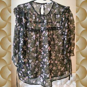 NWOT Black Floral Sheer Top